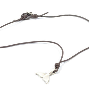 whale tail necklace * leather necklace *  whale tail pendant * mens necklace * surfer style necklace * male jewelry * unisex jewelry