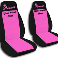 Custom personalized auto front seat covers. 2 front seats with embroidered princess and name.