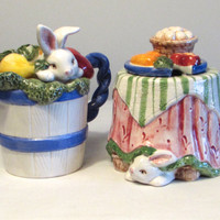 Vintage Ceramic Cream and Sugar Set by Fitz and Floyd, 1993 Bunny Rabbit Cream and Sugar Set, Easter Serving, Laslovelies