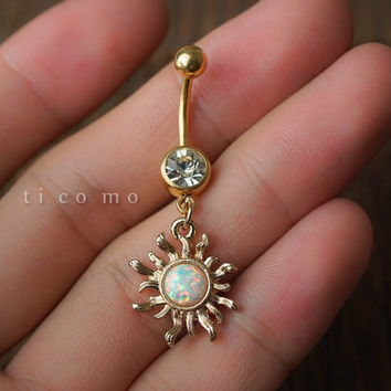 belly ring belly button ring belly button jewelry dangle sun charm fire opal boho bohemian jewelry