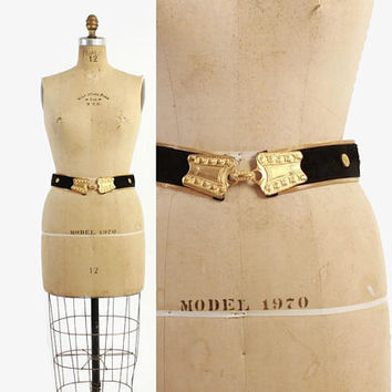Vintage 80s San Marcos METAL MESH & Leather BELT / 1980s Ethnic Inspired Suede and Gold Buckle Belt