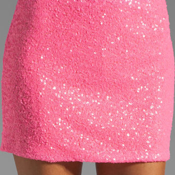 MM Couture by Miss Me Short Sequin Skirt in Fuchsia from REVOLVEclothing.com