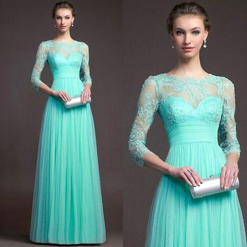 Belva Women's Long Maxi Dress Long Sleeved Lace Stitching Evening Wedding Dress Skirt Maternity Dress Clothes for Pregnants 682