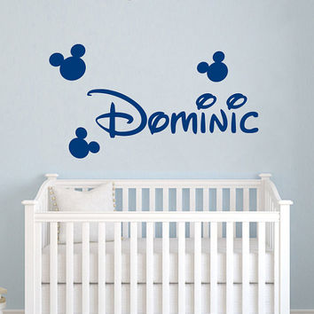 Wall Decal Vinyl Sticker Decals Home Decor Design Mural Disney Personalized Custom Baby Name Head Mice Ears Mickey Mouse Minnie Mouse AN631