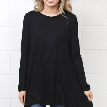 Long Sleeve High Neck Tunic Top {Black}