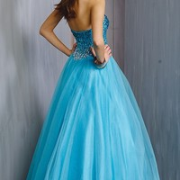 Alyce Paris 6325 Embellished Strapless Tulle Long Light Turquoise Prom Dress