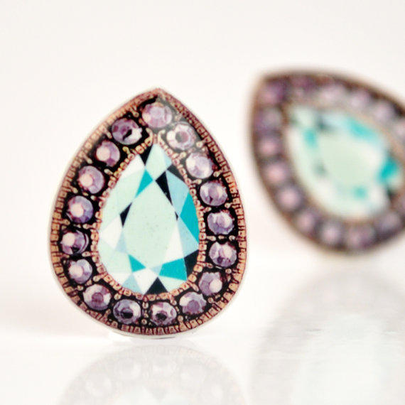 Rhinestone and Aquamarine Teardrop Illustrated Post Earrings  - Hypoallergenic Surgical Stainless Steel Posts- Christmas In July - CIJ