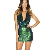 Iridescent Sequin Cowl Neck Dress - Green