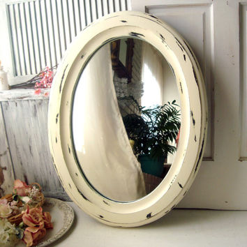 Large Vintage Oval Mirror, Cream Distressed Mirror, Shabby Chic Very Distressed Oval Mirror, Wooden Mirror, Antique Cream Mirror