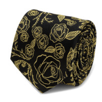 Beauty and the Beast Floral Rose Black Men's Tie BY DISNEY
