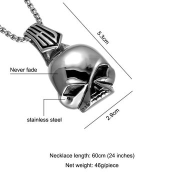 HIP Punk Skeleton Skull Pendants Necklaces Chinese Ancient Qin official Hat 316L Stainless Steel Necklace for Men Jewelry
