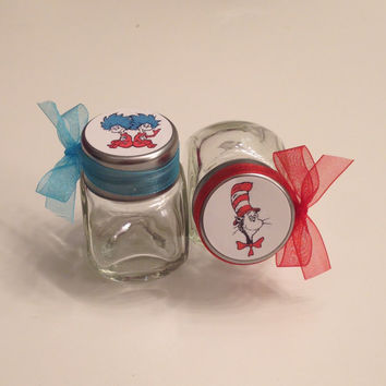 12 Dr. Seuss Cat in the Hat, Thing 1 & Thing 2 Baby Shower/Birthday Party Candy Jar Favors