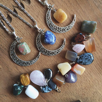 Crystal gemstone moon crescent silver color necklace stone pendant with Sodalite, Honey Calcite & Unakite chain summer hippie gipsy boho