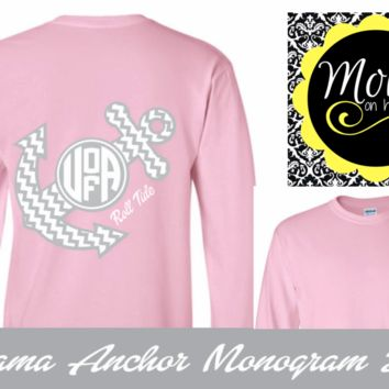 Alabama Chevron Anchor with Monogram - Pink and White