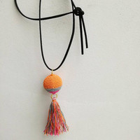 Boho crochet necklace, crochet ball, multicolour necklace with, suede cord and colorful tassel, bohemian crochet ball and tassel pendant