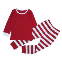 2016 Baby Girls Boys Christmas Pajamas Set Kids Striped Xmas Cotton PJS Children Clothing Set Family Christmas Pajamas 30E