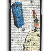 Alice In Wonderland Tardis Doctor Who for Iphone 6 Hard Cover Plastic