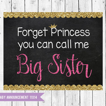 Big Sister to be PRINCESS Chalkboard sign, Princess Pregnancy Announcement 14x11, princess pregnancy announcement, new baby announcement
