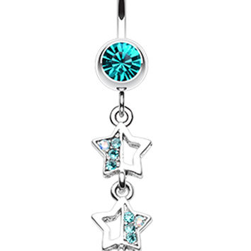 Triple Sparkling Star Belly Button Ring
