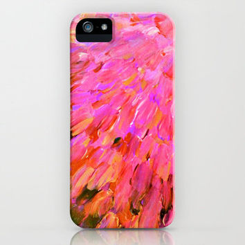 SEA SCALES IN PINK - Hot Pink Feminine Beach Ocean Waves Feathers Abstract Acrylic Painting Fine Art iPhone Case by EbiEmporium | Society6