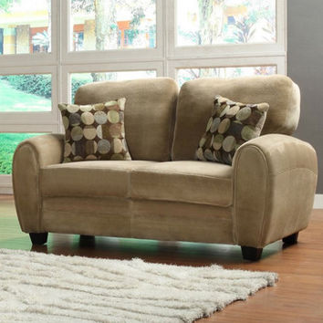 Homelegance Rubin Loveseat w/ 2 Pillows in Light Brown Microfiber
