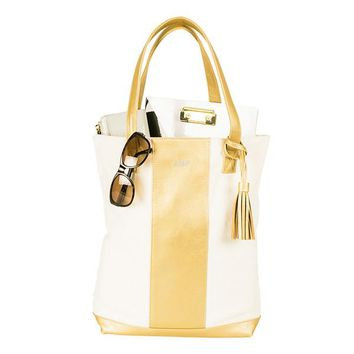 Personalized Gold Faux Leather Weekender Tote
