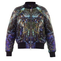 Forest-print bomber jacket