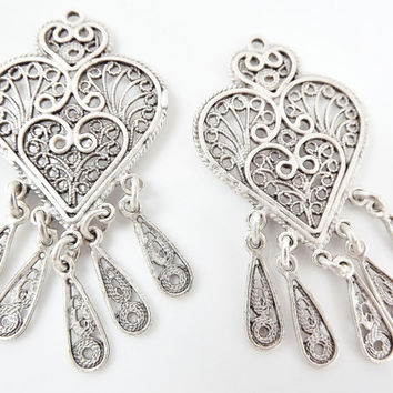 2 Delicate Heart Shaped Exotic Filigree Telkari Chandelier Earring Component Pendants - Matte Silver Plated