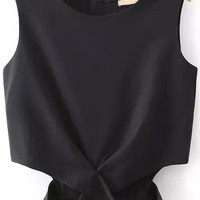 Black Zip Up Back Cut-Out Hem Chiffon CropTop