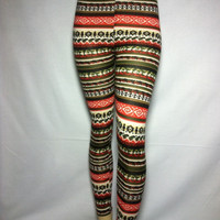 New Cali West Aztec Tribal Multi Color Print Winter Fleece Leggings