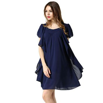 Black Navy Color Chiffon Dress  Summer O Neck butterfly sleeve loose Dresses Women clothing