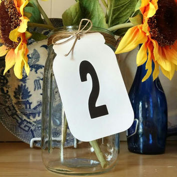 DIY Mason Jar Table Numbers, Die Cut Table Numbers, Mason Jar Place Cards, Mason Jar Wedding (Numbers 1-10)