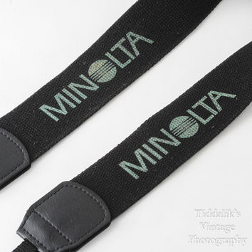 Vintage Genuine Minolta Wide Blue and Black Canvas Camera Strap