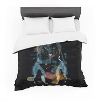 """Frederic Levy-Hadida """"Watercolor Foxy"""" Black Blue Watercolor Featherweight Duvet Cover"""