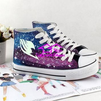 Custom Fairy Tail Shoes, Galaxy and Fairy Tail Symbol on High Tops, Amazing Sneakers f