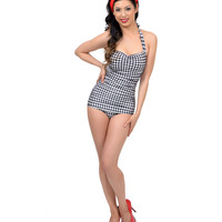 Vintage 1950s Style Pin Up Black & White Gingham Swimsuit