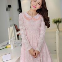 Kawaii Lolita Lace Doll Collar Sweet Long Sleeve Dress - S M L from Tobi's Finds