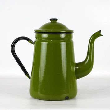 Vintage Enamel Coffee Pot, Enamelware, Olive Green, Farmhouse Decor