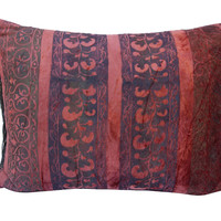 Italian Stenciled Silk Velvet Pillow