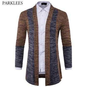 Patchwork Long Sweater Men 2017 Autumn Crochet Mens Sweaters Shawl Collar Sweater Casual Slim Fit Knitted Cardigan Pull Homme