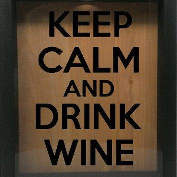 "Wooden Shadow Box Wine Cork/Bottle Cap Holder 9""x11"" - Keep Calm and Drink Wine"