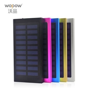 wopow Universal Solar Power Bank 10000mAh Ultra-Thin Solar Charger External Battery Pack 2 USB for All Phone Fast Shipping