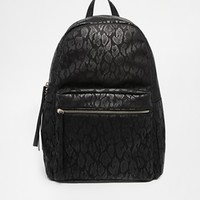 Pieces Catrine Black Leopard print Backpack at asos.com