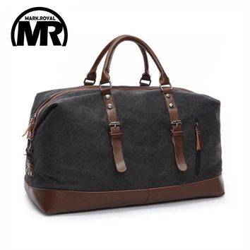 Canvas Leather Men Travel Bags Carry on Luggage Duffel Travel Tote Large Weekend Bag