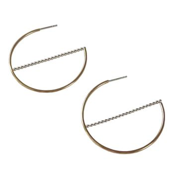 Gold and Silver Hoop Earrings with Line