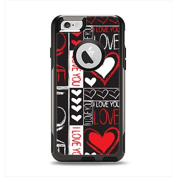 The Sketch Love Heart Collage Apple iPhone 6 Otterbox Commuter Case Skin Set