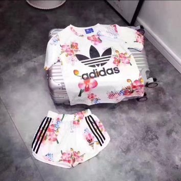 DCCKN7K Adidas' Print Short sleeve Top Shorts Sweatpants Set Two-Piece Sportswear