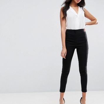 ASOS DESIGN high waist pants in skinny fit at asos.com