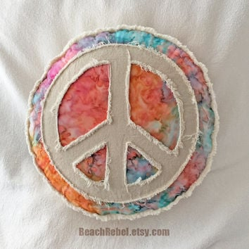 Peace sign boho pillow, rainbow tie dye batik and distressed natural denim round pillow