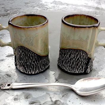Espresso Cups, Set of Two Small Mugs in Autumn Green Crystalline Glaze, Double Shot Size Makes a Unique Handmade Gift. 3 in. Tall. Food Safe